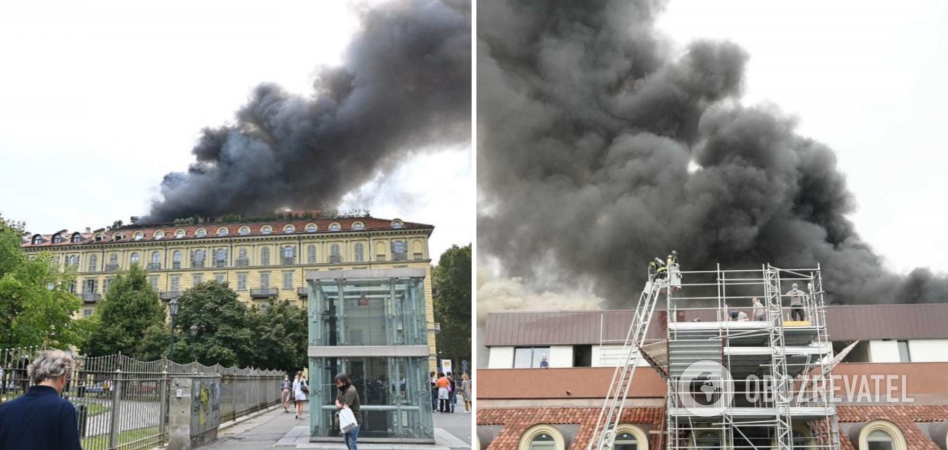 В центре Турина горело историческое здание: есть пострадавшие и множество эвакуированных. Фото и видео