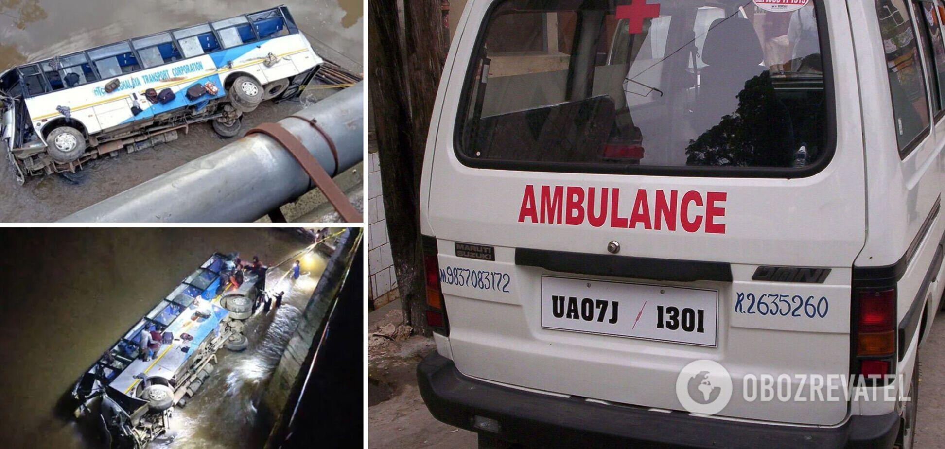 В Индии автобус с пассажирами упал в реку, есть погибшие и много пострадавших. Фото и видео
