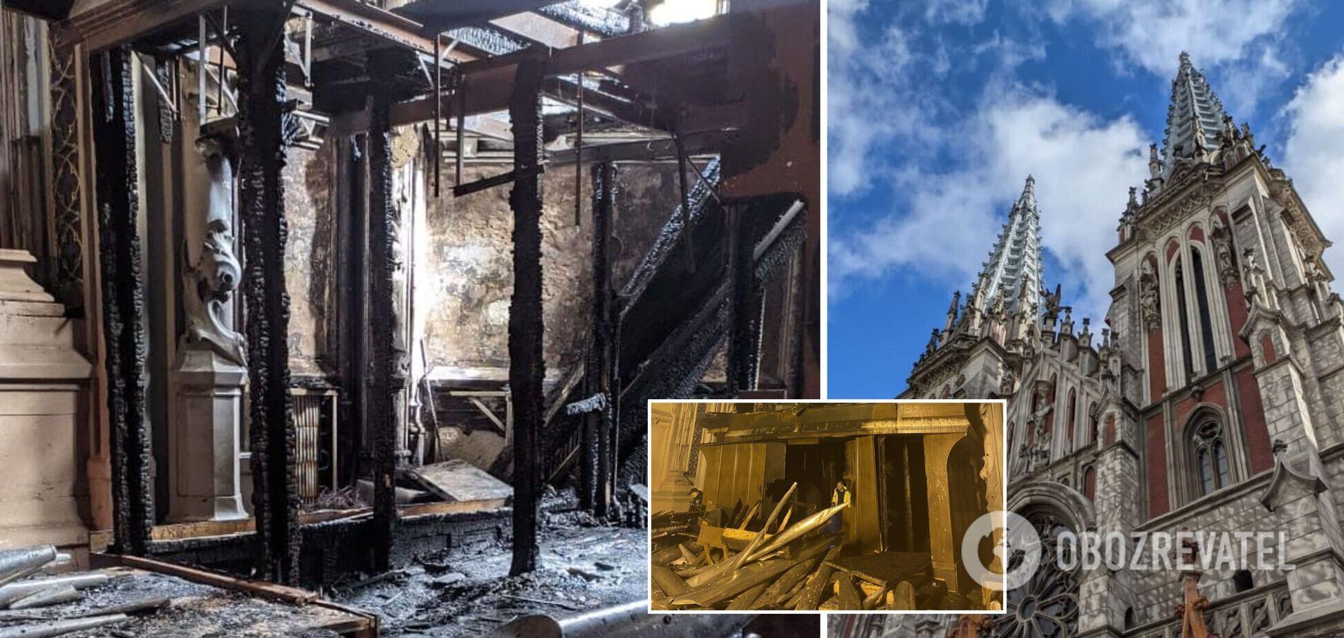 Наслідки пожежі в костелі Святого Миколая